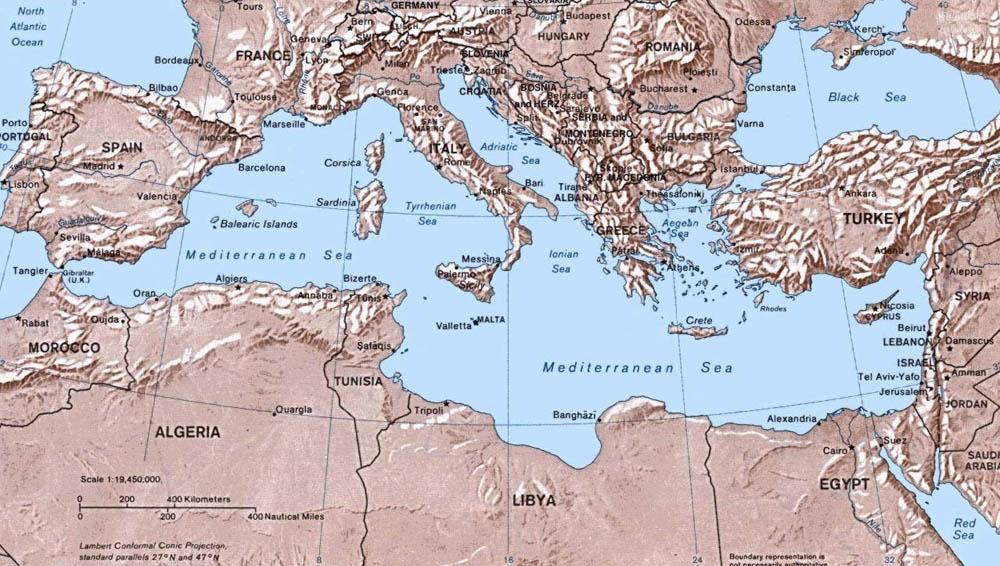 Средиземное море: карта, прибрежные страны, острова - Путеводитель ...